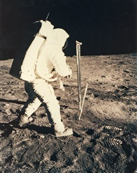 buzz aldrin collecting samples on the moon, apollo 11, july 1969 by neil armstrong