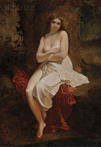 portrait of a seated nude in a landscape by antony serres