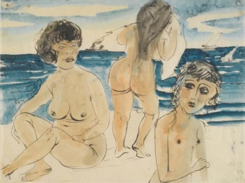 drei mädchenakte am strand three nudes on the beach by otto dix