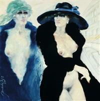 two female half nudes by jack de rijk