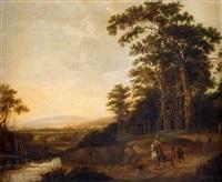 vidsträckt landskap med jaktsällskap by jan wils