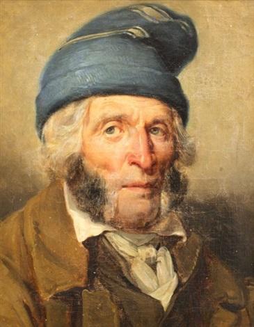portrait dhomme au bonnet bleu by nicolas toussaint charlet