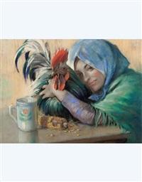 fanciulla con gallo by eugenio scorzelli