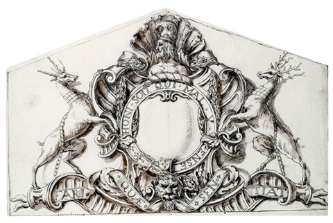 design for the pediment sculpture at houghton hall norfolk depicting sir robert walpoles coat of arms by william kent