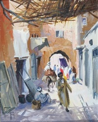 ruelle animée à marrakech by max flegier