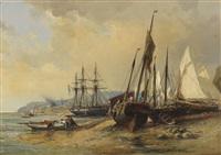 segelschiffe und fischerboote am bretonischen strand (brest?) by jules achille noel