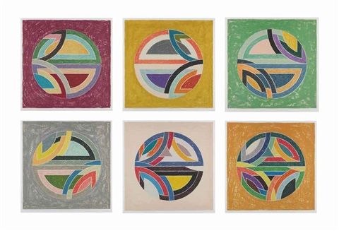 sinjerli variations squared with colored grounds set of 6 by frank stella