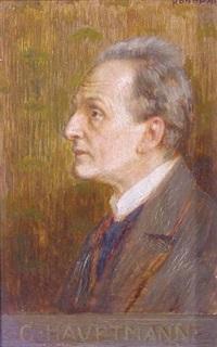 porträt georg hauptmann: brustporträt von links by rudolf konopa