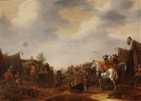 chevaliers près d'un campement militaire by barend gael