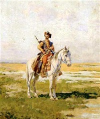 cossack on horseback by wladislaw karol szerner