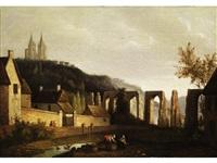 landschaft mit aquädukt und einer doppelturmkathedrale auf dem berg by smartly