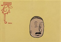 untitled (beige face with d eyes) by barry mcgee