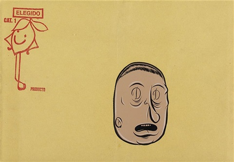 untitled beige face with d eyes by barry mcgee