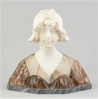 buste de jeune fille au bonnet by gustave van vaerenbergh