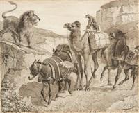 caravane surprise par un lion (orientaliste) by alexandre bida