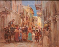 european street scene by frederick carl gottwald