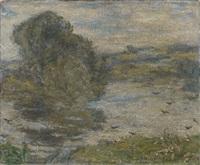 paysage avec étang (bourg-en-bresse) by edmond françois aman-jean