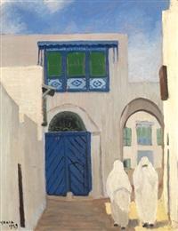 tunisiennes devant la porte bleue by yahia turki
