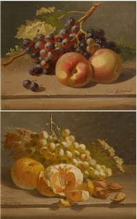 nature morte aux raisins bleus (+ another; 2 works) by louis de koning