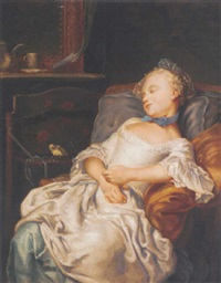 portrait of a girl sleeping on a chair, a songbird beside her by jean françois gilles colson