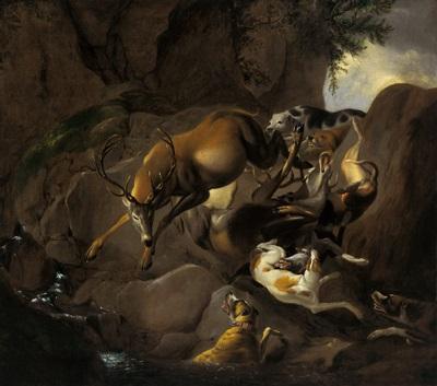 hunde jagen einen hirsch in einer felsigen landschaft by carl borromaus andreas ruthart