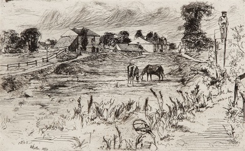 landscape with the horse by james abbott mcneill whistler
