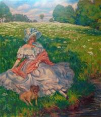 femme en robe blanche assise dans l'herbe by raphäel léon leguilloux