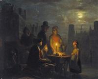 marktscene bij avond by jan hendrik van grootvelt