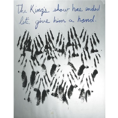 the kings show has ended lets give him a hand by david hammons