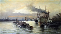 on the thames at limehouse by edward henry eugene fletcher