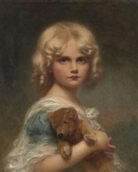 blondinette : portrait de jeune fille avec son ourson by edouard cabane