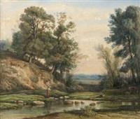 bergères gardant leur troupeau au bord d'une rivière dans le limousin by nicolas louis cabat