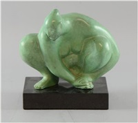 crouching figure with green patination by francisco zúñiga
