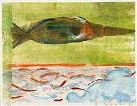 torso im wasser und fliegendes objekt (+ das blutige gesicht des kriege, smllr; 2 works) by wilhelm lachnit