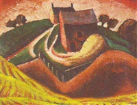untitled - landscape with farm by lowrie lyle warrener