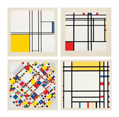 a portfolio of 10 paintings (set of 10) by piet mondrian