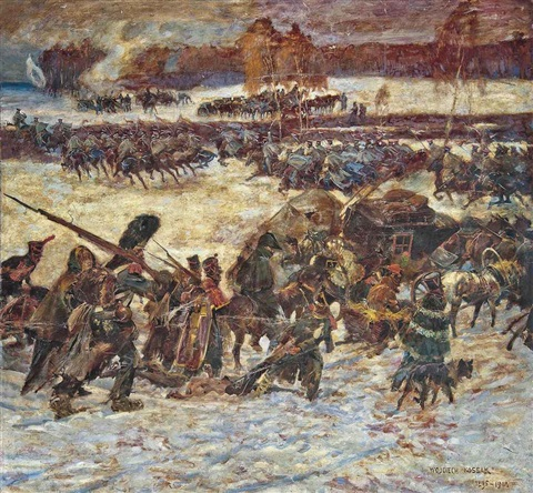 napoleons retreat from moscow by woiciech aldabert ritter von kossak