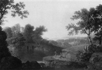 river landscape with travellers resting by john smith the younger
