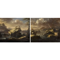landschaft mit flussbrücken und staffage (pair) by anonymous-italian (17)