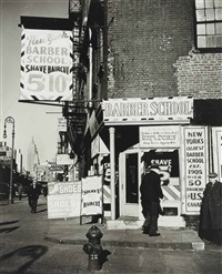 barber school, bowery, n.y.c. by john gutmann