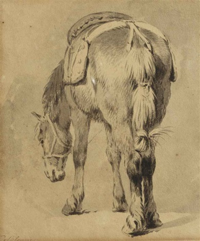 study of a saddled horse by pieter van bloemen