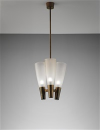 rare three-armed ceiling light by pietro chiesa