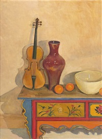 untitled (violin, red vase and mandolin) by brian james dunlop