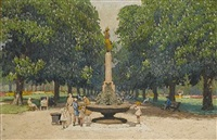 children by a fountain in a park by yoshio markino