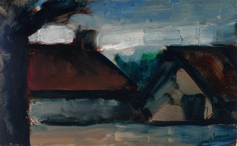 old farm by evening by johan hendrik van ieperen