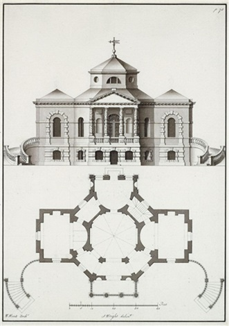 architectural drawings pair by william kent