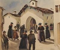 fidèles allant à la messe dans le val de bagnes by g. billet