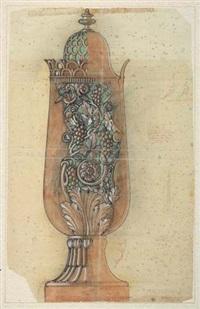 vaso traforato in alabastro scaglione bollito (design for model) by dino del colombo