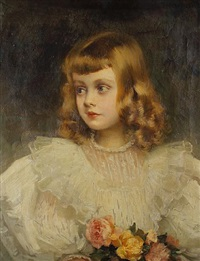 portrait of a young girl holding a bouquet of pink and yellow roses by jules louis machard