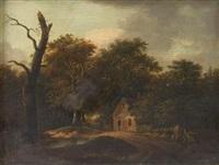 chaumière dans la forêt, deux enfants jouant au bord du chemin by peter nasmith